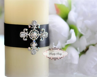 Rhinestone Cross Flatback Embellishment Button Brooch DIY Wedding Invitation Ring Bearer Pillow Hair Comb Unity Candle Church