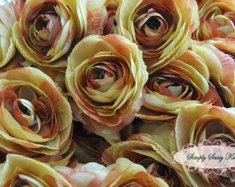 2 pcs Mustard Gold Tan Silk Ranunculus Artificial Flower Heads Color 3.5in DIY Bouquets Arrangements Hair Clips Wedding