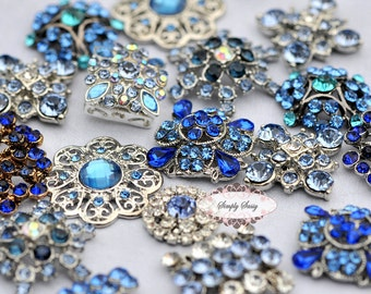10pc Something Blue Assorted Rhinestone Flat back Embellishments DIY Brooches Crystal Buttons Wedding Bouquet Favors Invitations Bling