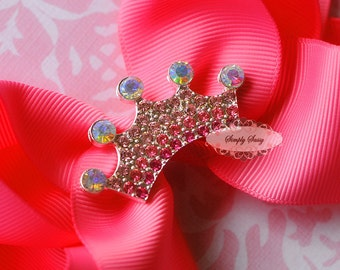 5pcs PINK Ombre Rhinestone RD151 Tiara Crown Crystal Flatback Metal Brooch Embellishment Adornment Decoration