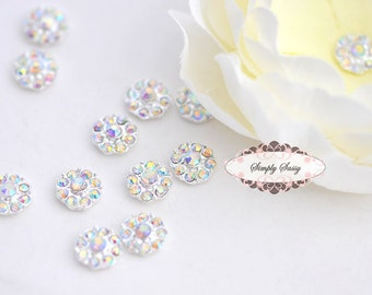 20pcs RD100 ClearAB on Silver 11mm Rhinestone Embellishment Flatback Crystal DIY invitations flowers weddings bouquet brooch bling