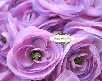 2 pcs Lavender Silky Soft Ranunculus Artificial Flower Heads Color 3.5in DIY Bouquets Arrangements Hair Clips Wedding