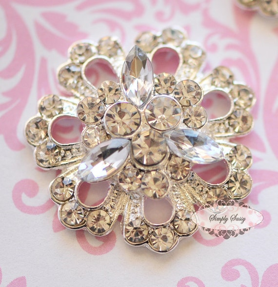 5 pcs RD116 SILVER Clear Rhinestone Metal Flat Back Embellishment Buttons flowers invitations favors bouquets napkins accessories hair clips