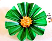 Reserved for ravenwoodmanor. Vintage Flower Broach In Enamel Green Goddess and Gold Tone Daisy.