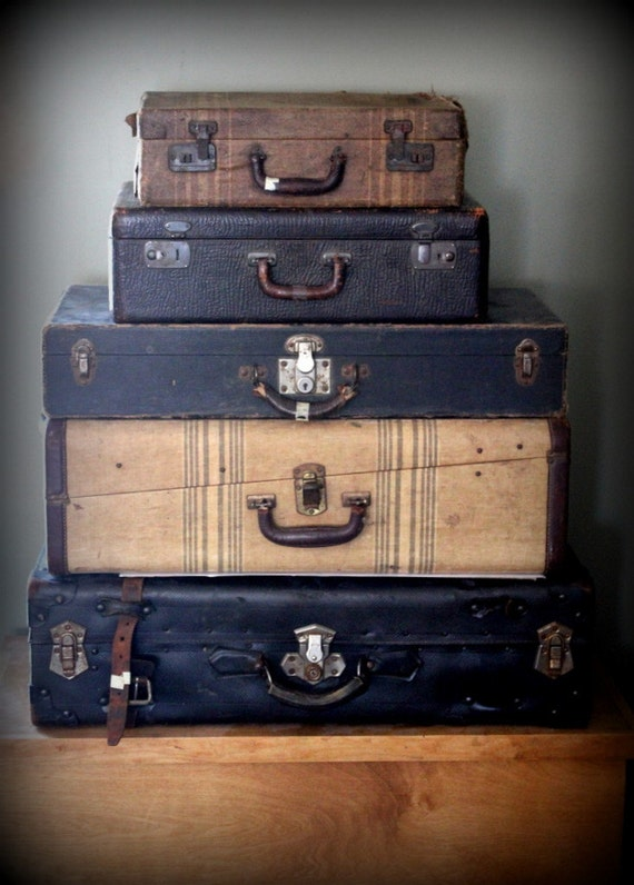 Vintage Canvas Covered Hard Suitcase Extra Large