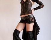 Black Steampunk Bustle w/ Embossed Faux Leather Belt & Hidden Pocket