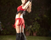 True Red Lace Fantasy, Belly Dance, Burlesque, Burning Man, Mini Skirt With Red Ribbon Ties