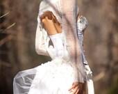 Steam Punk Bustle , White Wedding Mini Belt Bustle, Up Cycled Eyelet Cotton and Crinoline Tulle, Festival Clothing
