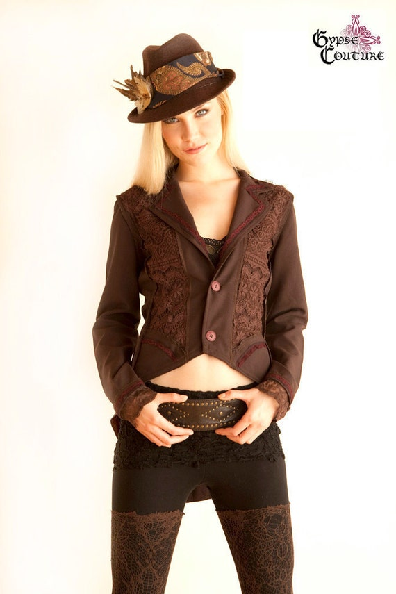 Coffee Bean Equestrian Gypsy Jacket Trimmed w/ Vintage Lace