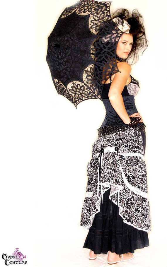 Victorian Marie Antoinette Belt Bustle With Black & White Rococo Print And Tiered Lace