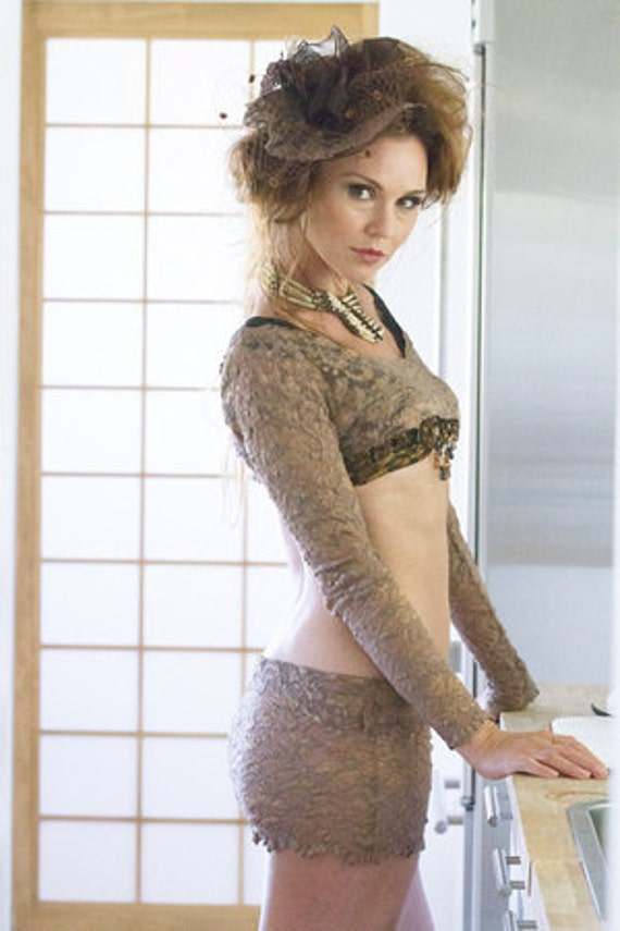 Sexy Nude Stretch Lace Shrug And Mini Skirt Set