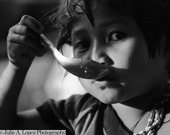 Black and White Photography, Shadow, Hill Tribe, Girl, Child, Youth, Young, Curiosity, Tribal,  Fine Art  Photographic Print 8x10