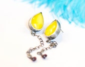 Lemon Zest Earrings, sterling, vintage yellow glass, garnet,long, drop, silver chain, post