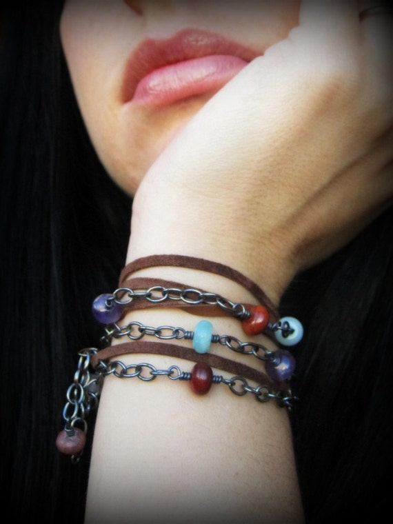 Sterling silver, stone, and leather wrap bracelet / necklace