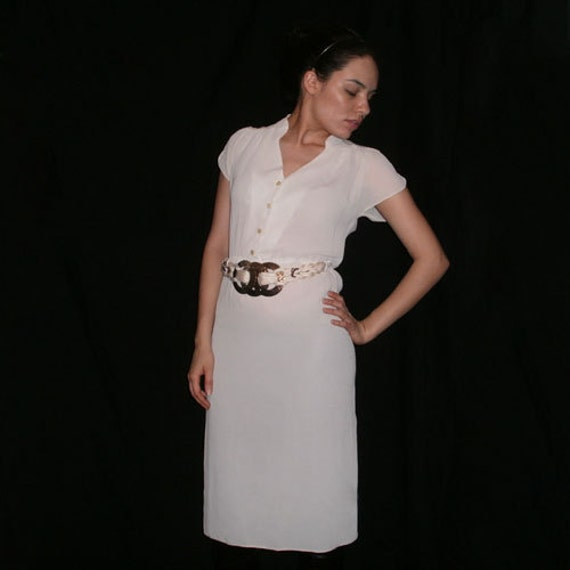 70s- Memories in White- Minimalist Boho- Gorgeous White, Hipster Style Dress with Lace Detailing, Minimalist Wedding- Size 3