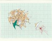 Mixed Media Maps & Flying Birds- 11.5 x 8