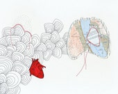 Paper Cutout Map & Anatomical Heart Mixed Media - 11.5 x 8 inches
