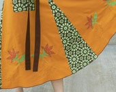 Earthy Colors Hippie  Wrap Skirt  With Flower Applique by OhRita