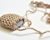 Crocheted Necklace with Small Beach Stone