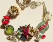 SALE  Lampwork Bead Bracelet GRAINS of SAND