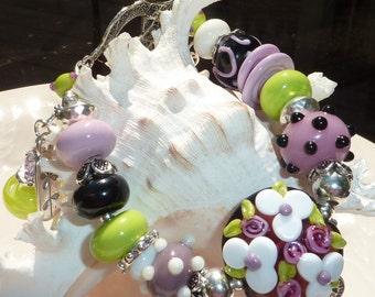 SALE!!     Lampwork Bracelet NANA'S LILACS
