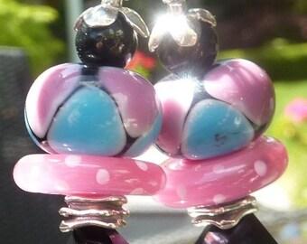 HARLEQUIN Lampwork Bead Earrings
