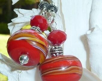 Lampwork Earrings STRAWBERRY SHORTCAKE