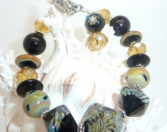 Lampwork Bracelet Gold and Black