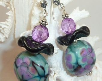 SALE!!   Lampwork Necklace and Earring Set with Sterling Silver