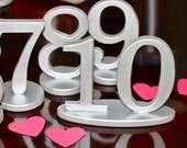 Table Numbers - Wooden Numbers in Metallic Silver, Pewter, or Other Colors