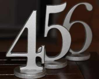 Table Numbers for Wedding or Party Decor - Wooden Numbers in Metallic for Wedding, Table Numbers, SET OF 1-20 (Item - NUM120)