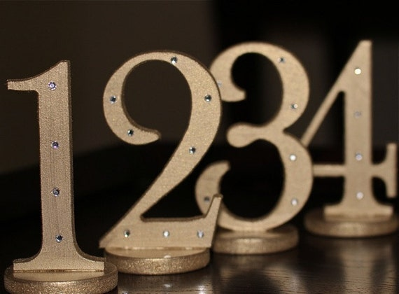 Gold Rhinestone Embellished Table Numbers for Weddings - Vintage Chic and Elegant Wooden Numbers