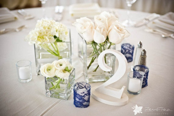 White, Wood Table Numbers for Weddings, Carved Numbers, Freestanding - White Wedding Decor