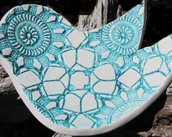 large turquoise bird spoon rest  home decor