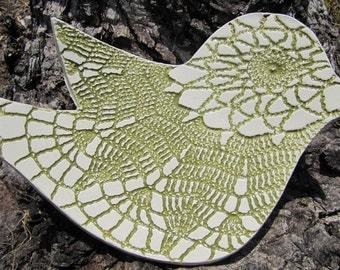 ceramic bird spoon rest or dish olive green