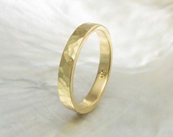 3mm 18k gold ring -- hammered wedding band, handmade