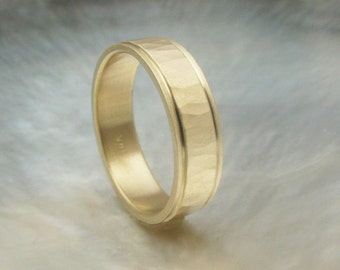 unique man's wedding ring -- 5mm 14k yellow gold hammered wedding band with stepped edges
