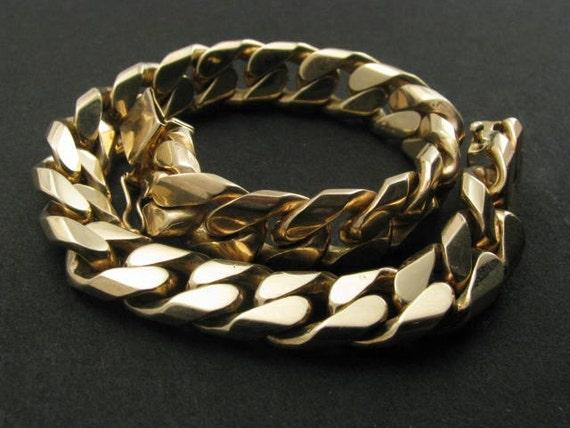 Heavy solid 14k yellow gold handmade curb-link bracelet