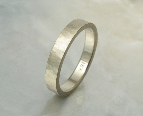 Matte White Gold Ring Wedding Band Organic And Rustic In