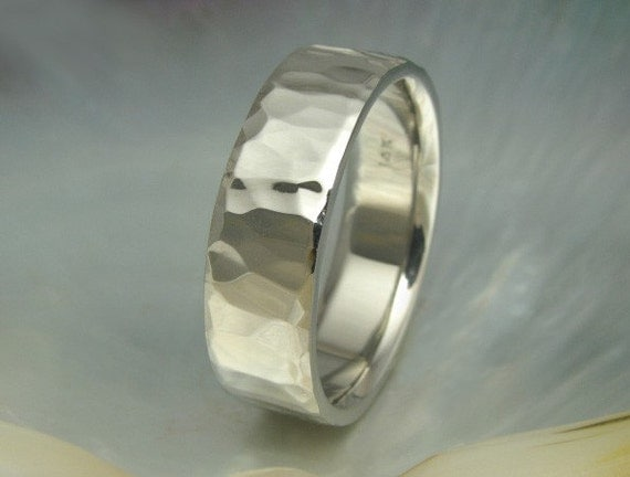 unique wide mens wedding band / ring hammered in 14k white gold, yellow gold, or rose gold