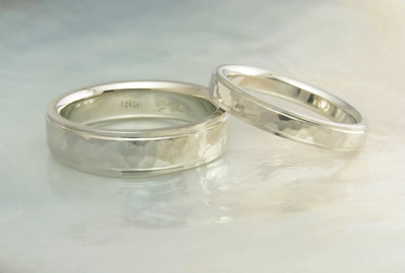 white gold wedding bands hammered in 18k gold with stepped edges, comfort fit