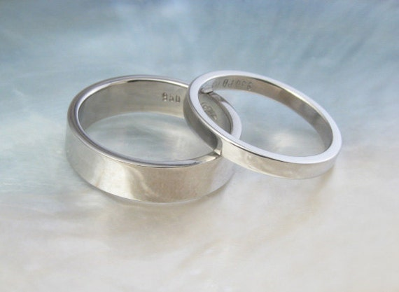 palladium wedding band set his and hers simple by ravensrefuge