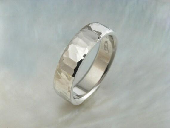 artisan handmade hammered platinum wedding band by