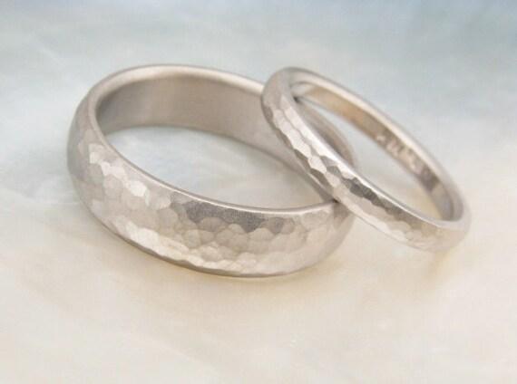 hand hammered wedding band set -- domed matte wedding rings in 18k palladium white gold