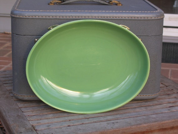 Green California Modern Santa Anita Ware Oval Bowl