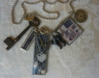 Soldered Glass Charm/Assemblage Necklace Charmed Vintage I LOVE VINTAGE