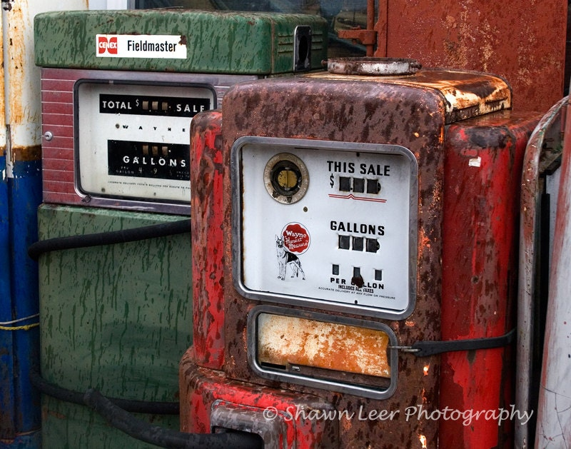 Old Red And Green Gas Pumps For Sale
