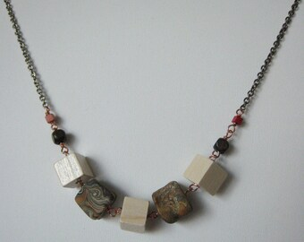 Wood and Clay Cube Necklace