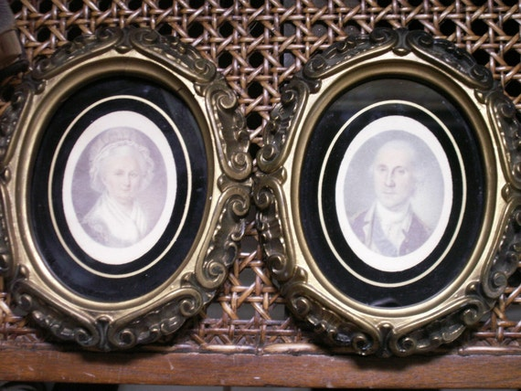 Pair of Small Framed Portraits George and Martha Washington