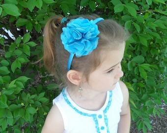 Girl Headband, Puff Turquoise Flower Headband, Turquoise Headband, Hard Headband, School Headband, Toddler Headband, Hair Band, 02